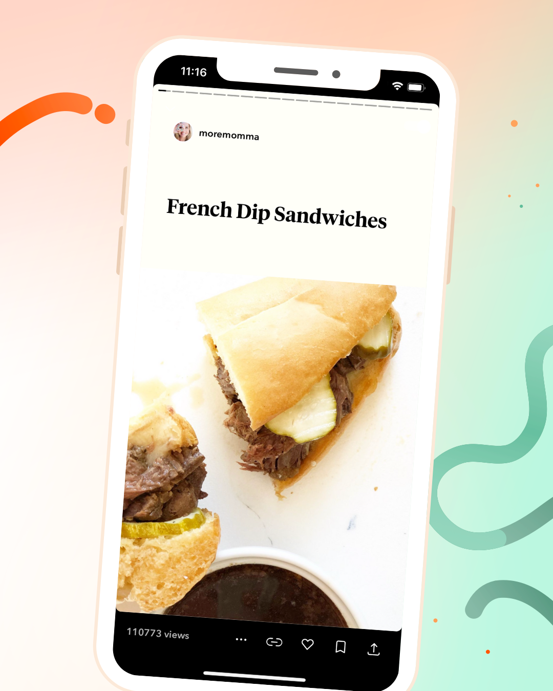 Jumprope screenshot of french dip sandwiches