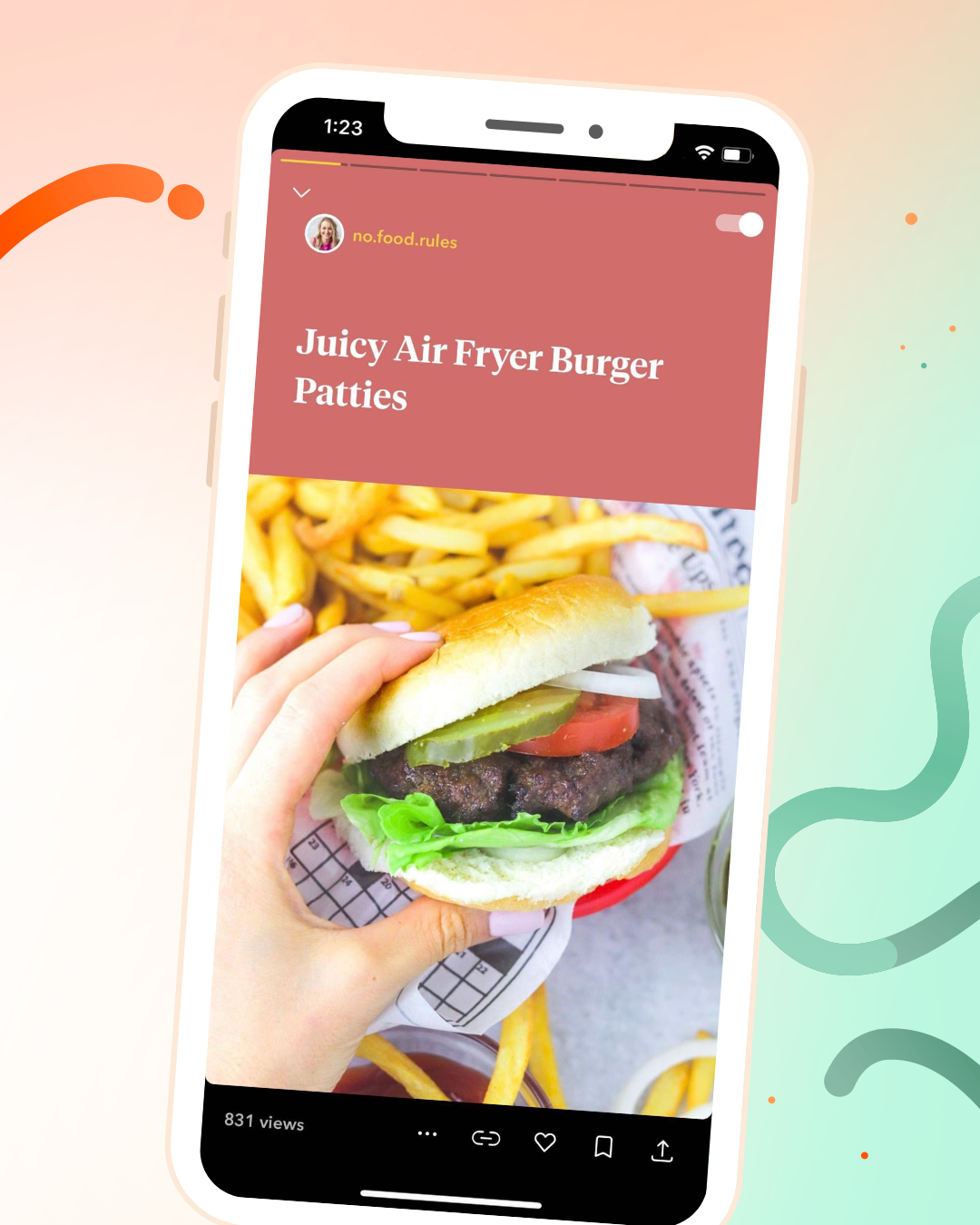 Jumprope screenshot of air fryer burger recipe